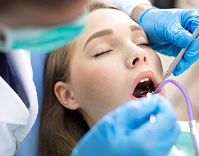 woman getting periodontal therapy