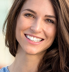 brunette woman smiling